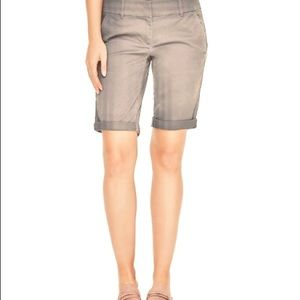 LOFT Petite Cliff Gray Roll Bermuda Shorts